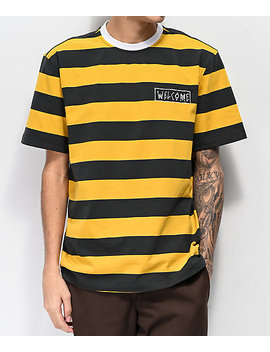 Welcome Big Stripe Black & Gold Knit T Shirt by Welcome Skateboards