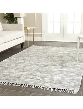 Safavieh Montauk Collection Mtk753 A Handmade Flatweave Silver Cotton Area Rug (8' X 10') by Safavieh