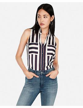 Slim Stripe Sleeveless Portofino Shirt by Express