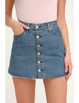 Button Front Medium Wash Mini Skirt by Levi's