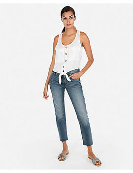 Linen Blend Tie Front Tank by Express
