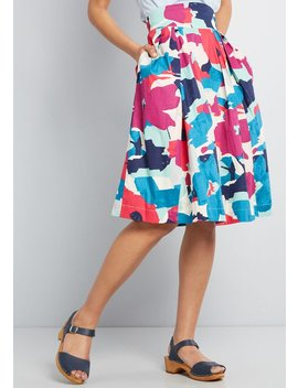 Mod Cloth X Emily And Fin Far Out And Fabulous Midi Skirt by Emily And Fin