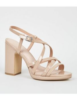 Nude Comfort Flex Patent Strappy Heeled Sandals by New Look