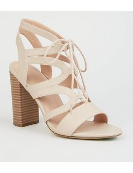 Nude Leather Look Lace Up Ghillie Block Heels by New Look