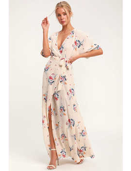 Flaming Cream Floral Print Wrap Maxi Dress by Socialite