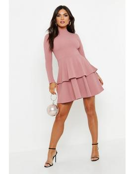 Crepe Long Sleeve Tiered Skater Dress by Boohoo