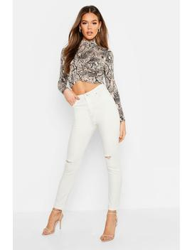 High Rise Distressed Stretch Skinny Jean by Boohoo