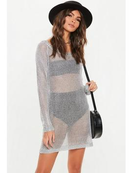 Silver Metallic Off Shoulder Sweater Dress by Missguided