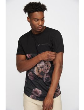 Split Floral Graphic Zip T Shirt by Urban Planet