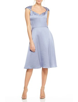 Marion Satin Twist Cap Sleeve Fit & Flare Dress by Gal Meets Glam