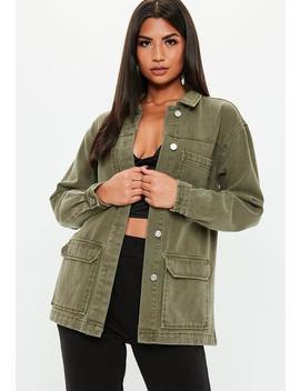 Khaki Denim Oversized Utility Jacket by Missguided