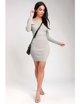 Mademoiselle Light Grey Ribbed Off The Shoulder Bodycon Dress by Lulus