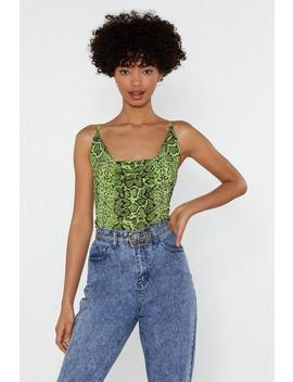 Snake A Smile Neon Cowl Neck Top by Nasty Gal