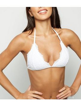 White Lace Triangle Bikini Top by New Look