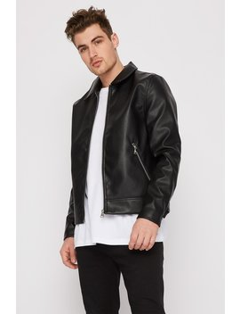 Classic Faux Leather Zip Up Jacket by Urban Planet