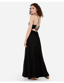 High Neck Tie Back Strappy Maxi Dress by Express