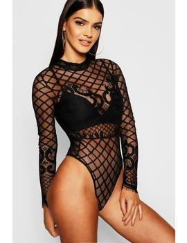 Premium Lace High Neck Bodysuit by Boohoo