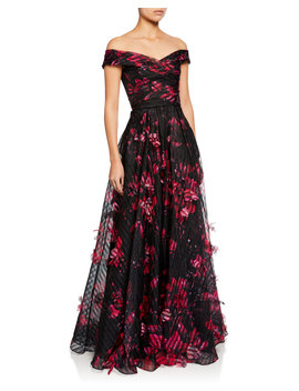 Off The Shoulder Floral Printed Striped Organza Gown W/ 3 D Flowers by Marchesa Notte
