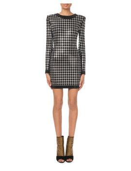 Long Sleeve Diamond Jersey Mini Dress by Balmain
