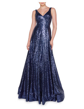 Sequined V Neck Sleeveless Ball Gown by Ieena For Mac Duggal