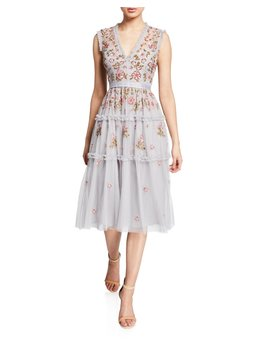 Carnation Sequined Ruffle Tulle Cocktail Dress by Needle & Thread