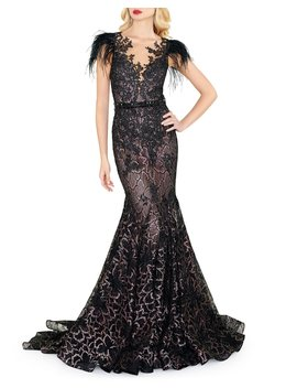 Feather Embellished Cap Sleeve Dress by Mac Duggal
