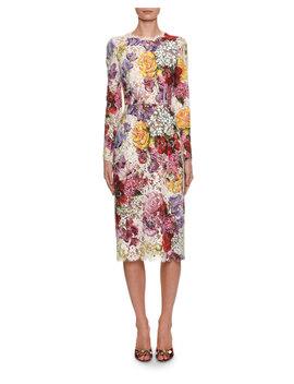 Long Sleeve Floral Print Lace Midi Dress by Dolce & Gabbana