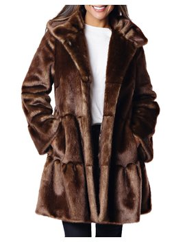 Faux Fur Tiered Swing Coat by Fabulous Furs