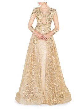 High Neck 3/4 Sleeve Lace Overlay Illusion Gown W/ Bead Embellishment by Mac Duggal