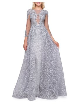 Boat Neck 3/4 Sleeve Illusion Gown With Lace Overlay by Mac Duggal