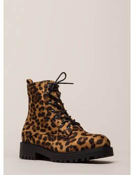 Little Punk Animal Print Combat Boots by Go Jane