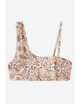 Snake One Shoulder Bikini Crop Top by Topshop