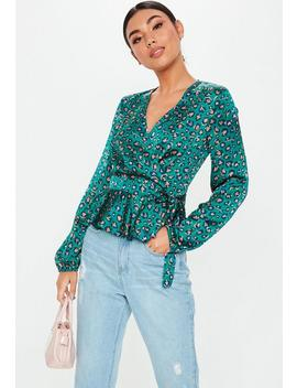 Teal Animal Frill Hem Side Tie Blouse by Missguided