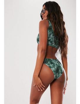 Green Acid Wash Print High Leg Boomerang Bikini Bottoms by Missguided