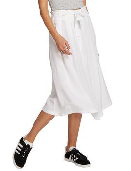 Deep Tracks Linen Blend Midi Skirt by Volcom