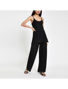 Black Ribbed Wide Leg Trousers by River Island