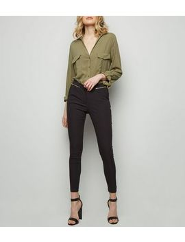 Black Zip Slim Leg Trousers by New Look