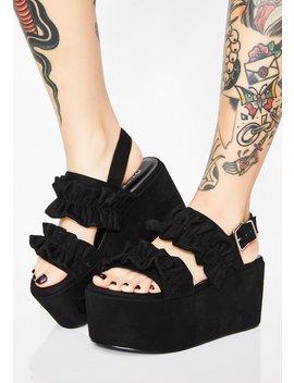 Dark Ruffled Fate Platform Sandals by