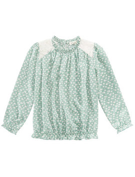 Big Girls Printed Lace Trim Top by Monteau