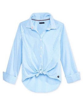 Striped Button Front Shirt, Big Girls by Tommy Hilfiger