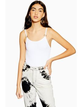 White Ring Textured Bodysuit by Topshop