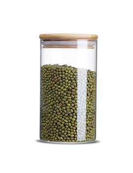 Glass Storage Jar,Kitchen Food Containers With Bamboo Lid Make It Airtight Size 3.15x5.90inches 25 Oz   750ml by Hrs