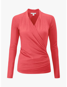 Pure Collection Jersey Wrap Top, Hot Coral by Pure Collection
