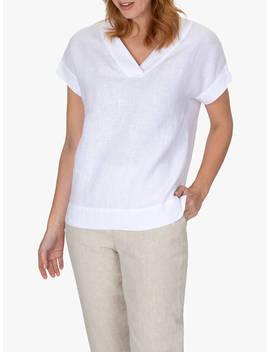 Jaeger Linen V Neck T Shirt, White by Jaeger