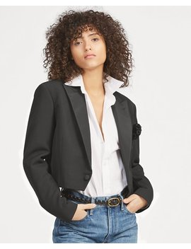 Cropped Wool Tuxedo Jacket by Ralph Lauren