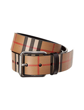 Burberry Vintage Check Leather Belt by Burberry