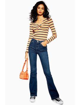 Indigo Hem Jamie Flare Jeans by Topshop