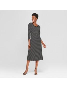 Women's Striped Button Down Rib Midi Dress   Who What Wear™ by Who What Wear