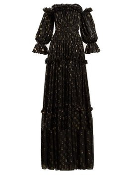 Polka Dot Ruffled Off The Shoulder Silk Blend Gown by Dolce & Gabbana