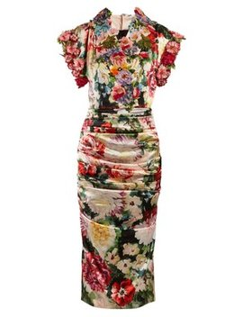 Floral Print Satin Midi Dress by Dolce & Gabbana